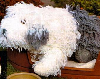 Vintage PDF knitting pattern- Old english Sheepdog, dog toy- instant download