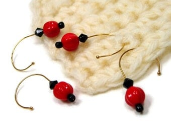Stitch Markers Crochet Removable Red Black