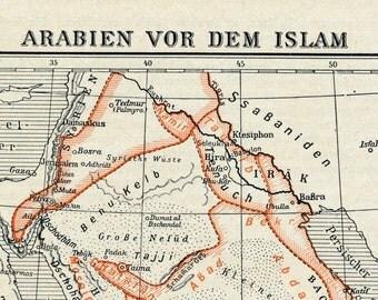 1925 Antique Map of Arabia before Islam - German map - Antique Arabia Map - Islam Antique Map