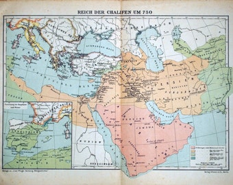 1925 Antique Maps of the History of Islam - Empire of the Caliphs and the Spread of Islam - History of Islam Antique Map