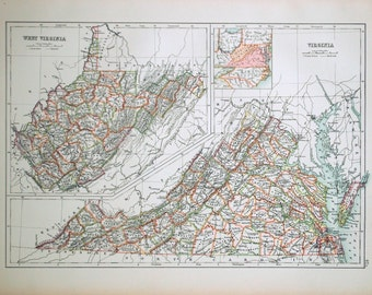 1890 Large Special Library Edition Antique Map of Virginia and West Virginia
