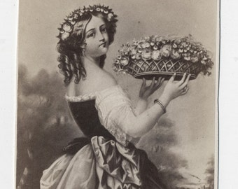 1860s - 1870s Antique CDV Photograph. Girl with Crown of Flowers