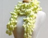 Pom Pom Scarf...Sunny Yellow Pompon..Fuzzy Fluffy Neckwarmer..Crocheted Scarves