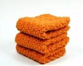 Orange Cotton Dishcloth, Silky Crochet Washcloth, Crocheted Face Cloth
