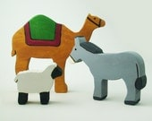 Nativity animals Wooden waldorf camel sheep donkey toy Heirloom
