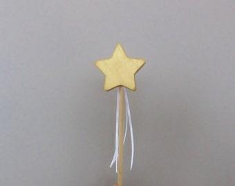 Golden Star Wand Wooden Fairy Metallic Gold