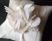 Wedding Ring Pillow - Ivory Pleated Silk Ring Bearer Pillow with Handmade Silk Blooms - Anne
