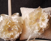 Ring Bearer Pillow and Flower Girl Basket Set - Ivory Lace and Silk - Alena