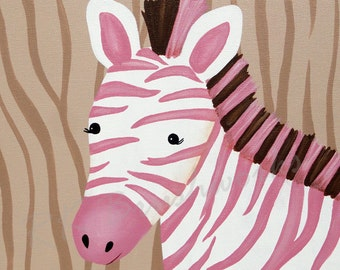 Childrens Art Print - Bubblegum Jungle Friends Zebra 12x12 print - childrens art, zebra, pink, zebra stripes print, personalized