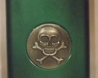 Ready To Ship! 8-oz Stainless Steel Skull/Crossbones Liquor Flask + FREE In-USA Shipping and FREE Funnel! More Color Options Listed Inside!