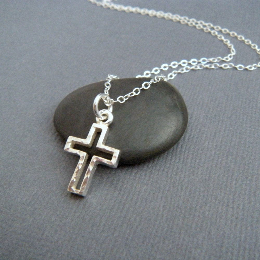 silver cross necklace open small hammered cross pendant. Black Bedroom Furniture Sets. Home Design Ideas