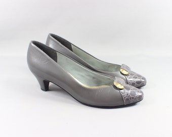 SALE Vintage Secretary Heels Grey Leather Size 6 1/2 Women's