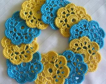 Handmade Crochet  Appliques, Mini Doilies, set of 10, Golden Yellow, Parakeet Blue