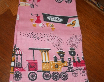 Vintage Linen Kitchen Towels Pat Pritchard Signed Stagecoach Wells Fargo Trains, never used