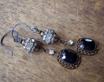 Vintage Assemblage Dangle Earrings Rhinestones Open Work Settings
