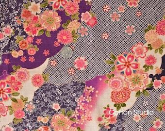 Japanese Fabric Kimono Floral Yuzen Purple by the Half Yard