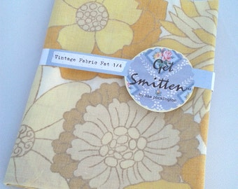 Yellow & Mustard Retro Floral English Vintage Fabric Fat Quarter