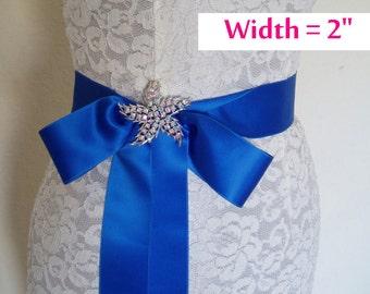 SWISS SATIN Bridal Sash Satin Ribbon Sash Wedding SASHES Blue - 2 inch width - Ready To Ship