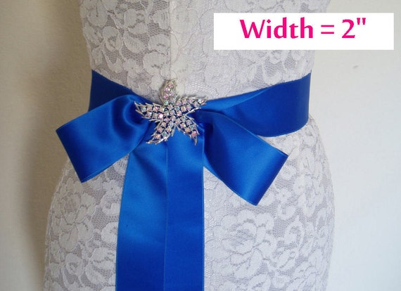 SWISS SATIN Bridal Sash Satin Ribbon Sash Wedding SASHES Blue - 2 inch width - Ready To Ship
