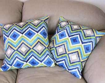 """Blue and Green Chevron Style Decorative Throw Pillow, Cotton Fabric - 16"""" or 18"""" Covers, Green, Blue, Taupe Pillow Cover, B3-2"""