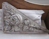 RESERVED Antique French plaster plaque of a large detailed rose.