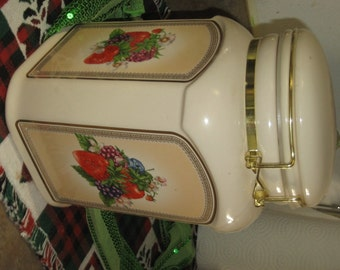 Vintage Cannister with Fruit Decals Great Condition