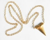 ON SALE-Brass/Gold Shark Tooth Necklace on Xtra Long Chain