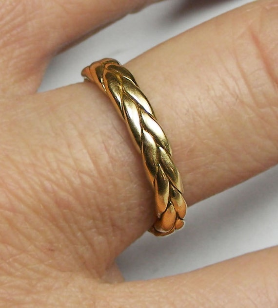 Thick 14k solid gold braid ring
