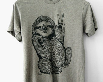 Peace Out Sloth || 5% Donated to Wildlife, sloth, sloth tshirt, mens tshirt, gifts for him, sloth gifts, funny sloth, mens || by Simka Sol