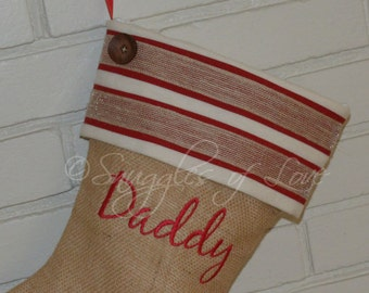 Personalized Burlap Christmas Stocking - Mens Burlap Stocking - Boys Christmas Stocking - Red and Cream Stocking - Double Stripe with Button