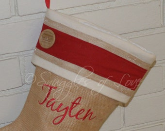 Monogrammed Burlap Christmas Stocking, PERSONALIZED, Rustic Stocking, Red and Cream Burlap Stocking Button Detail, Country Stocking
