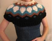 Handknit Lopi  Funnel Neck Micro Sweater