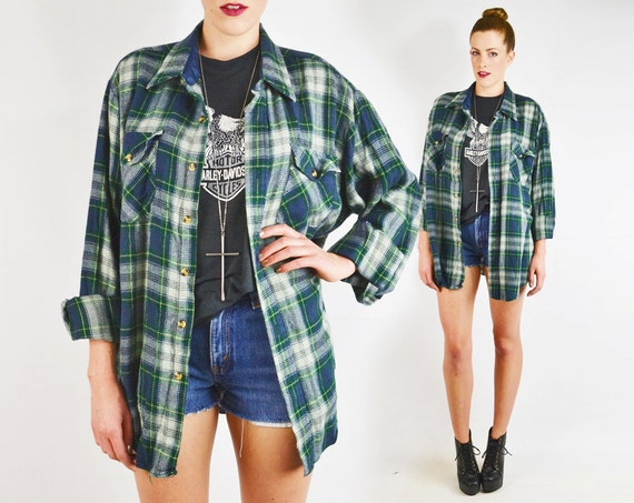 Vintage 80s 90s green plaid flannel oversized shirt plaid for Oversized plaid shirt womens