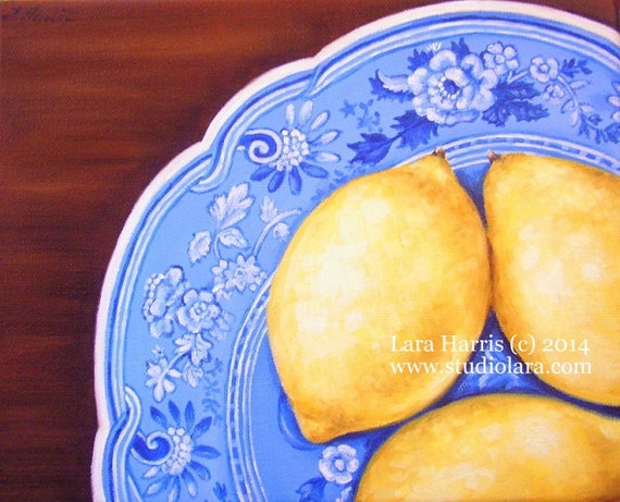 Lemons on Spode Plate Fine Art Giclee Print by LARA 8x10 Vintage Plate Kitchen