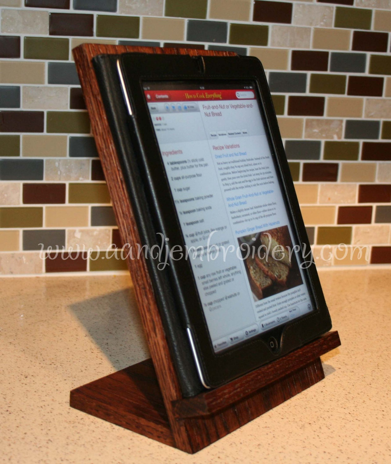 Wooden IPad Stand Wooden Tablet Recipe Stand Kitchen By