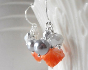Orange Earrings Bead Cluster Earrings Fall Jewelry Orange Leaf Dangle Earrings Beaded Earrings Autumn Leaves Handmade Jewelry Silver Plated