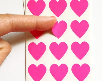 Set of 24 - 3/4 inch - HOT PINK - Small Heart Stickers - Gift Wrapping, Party Invitations, Embellishment, Envelope Seals, Wedding