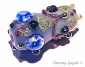 Lampwork Focal Glass  Bead Victorian Vase Purple Grapes & Vines - SRA