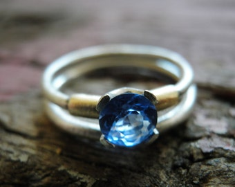 Engagement Blue Ring, Stacking Rings, Vintage Inspired Classic Blue Cubic Zirconia Ring, Sterling Silver Rings, Bridal Jewelry