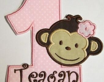 Iron On Applique -  Birthday Monkey Girl