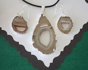 Silver Geode Earring & Necklace Set, Crystal Slice Earrings, Agate, Druzy Silver Earrings, GS 1