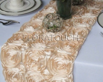 Champagne Satin Ribbon Rosette Table Runner Wedding Table Runner
