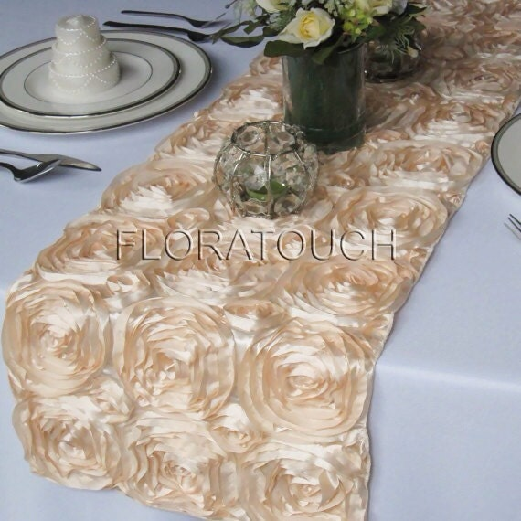 Champagne Satin Ribbon Rosette Table Runner Wedding Table