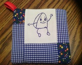 Embroidered Cotton Feedsack Hot Pad