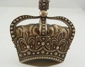 Pendant - Vintage Brass jewelry - Crown Pendant - Vintage Stamping - Large for Necklace