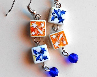 AntiqueTile Replica Earrings from OVAR Portugal - Gold Blue Fleur-de-lis (see photo of actual Facade)  Waterproof - reversible 373