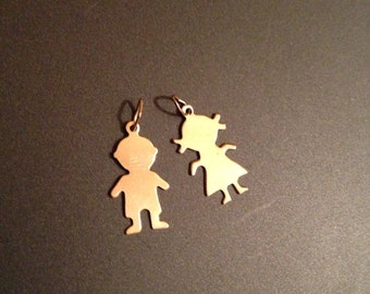 Gold-Filled Initial Charm Children ONE CHARM Stamping Blank Boy OR Girl