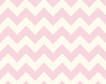 BLACK FRIDAY SALE - Le Creme Basics - Medium Chevron Stripe on Cream in Baby Pink - C640-75 - 1 Yard - Riley Blake Designs