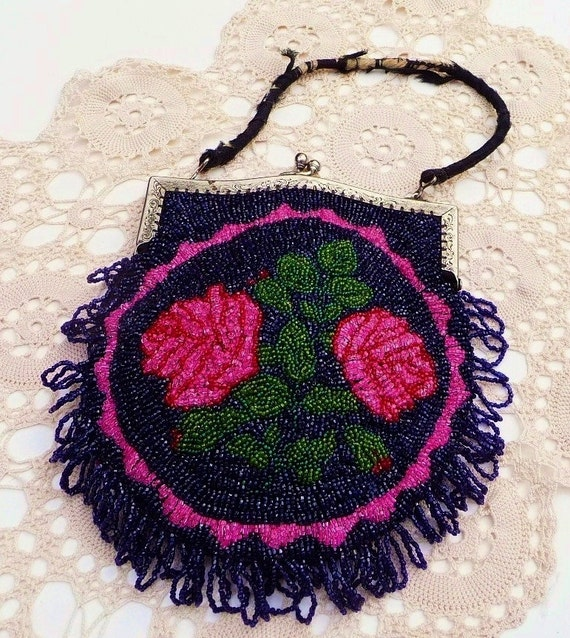 Antique Beaded Bag Midnight Blue Hot Pink Roses Vibrant