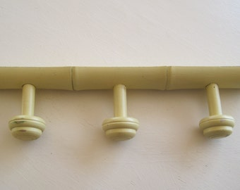 French Coat Rack Hat Rack Painted Yellow Faux Bamboo Vintage